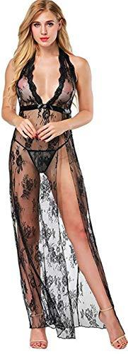 Rapidly Spitze Morgenmantel Lang Negligee Damen Kleid Nachtkleid Reizwäsche Nachtwäsche Durchsichtiges Spitzenkleid Rückenfrei Tiefer V-Ausschnitt Sexy Dessous Set für Damen (XXL, Schwarz)
