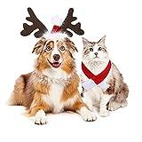 KAMEUN Costume Natalizio per Cani e Gatto, Animali Domestici Sciarpa, Cerchietti con Corna Di Renna Natalizia Regolabile per Cuccioli di Gatto