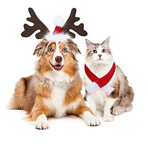 KAMEUN Hundemütze Weihnachten, Haustier Stirnband Weihnachten Rentier Geweih Stirnband mit Weihnachtsmütze Weihnachtskostüm für Haustier Hund Katze