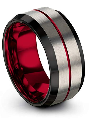 Chroma Color Collection Tungsten Carbide Wedding Band Ring 10mm for Men Women Red Interior with Red Center Line Grey Exterior Bevel Edge Brushed Polished Comfort Fit Anniversary Size 11.5