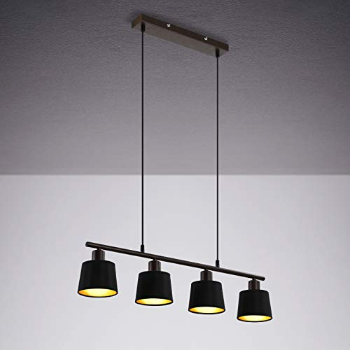 IMPTS - Lámpara de techo colgante con bombilla LED, redonda, vintage, de tela, pantalla de tela en negro/oro, lámpara de mesa de comedor, lámpara de salón colgante con casquillo E14