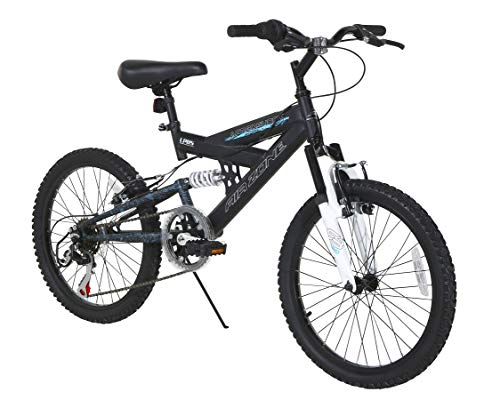 Dynacraft Air Zone Dual Suspension Mountain Bike Boys 20 Inch Wheels with 6 speed Grip Shiter and Dual Hand Brakes in Black and Blue