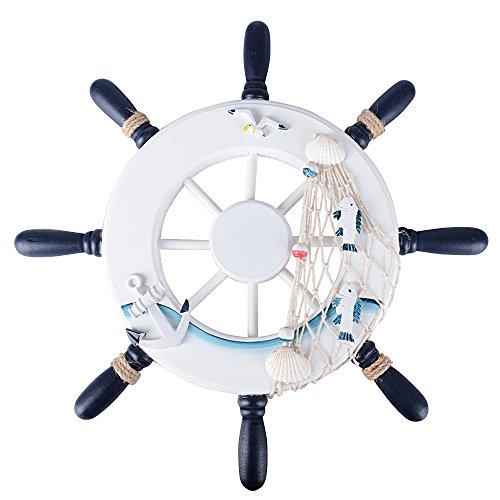 (Diametro 32cm) Timón Rueda Barco Volante Náutica de Madera Nave Decorativo Decoración Adorno de Pared con Red de Pesca Concha Estrella de Mar