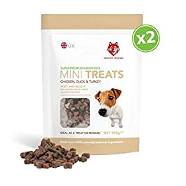 Grain free Training Treats for Dogs – 800 Treat Resealable Pouch – Healthy Hounds – 80% Fresh Poultry Meat, 20% Potato & Gravy – 100% Natural Dog Treats – 500g pack – Chicken, Duck & Turkey – Great for all Dogs