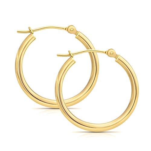 "14k Yellow Gold Polished Hoop Earrings, 0.6"" Diameter (yellow-gold)"