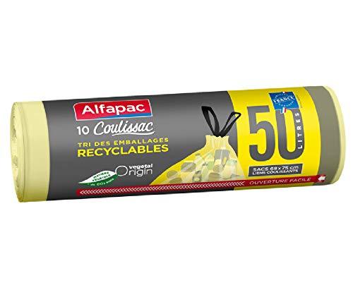 Alfapac 3232767309509 10 Coulissac 50L para clasificación de envases reciclables, Verde