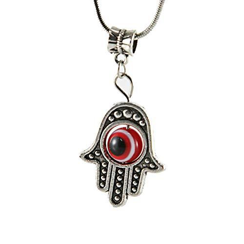 Hamsa rode mol zilveren tint halsketting amulet Kabbala oorbellen sieraden