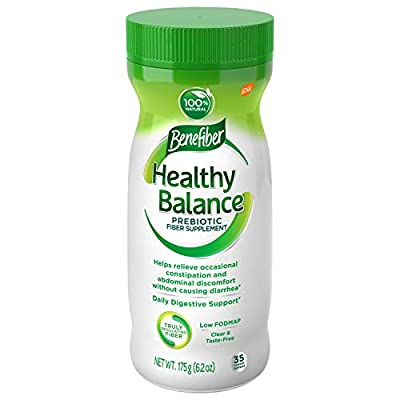 Benefiber Healthy Balance Daily Prebiotic Dietary Fiber Supplement Powder for Digestive Health, Clear and Taste-Free, 35 Servings of Fiber Powder, 6.2 oz