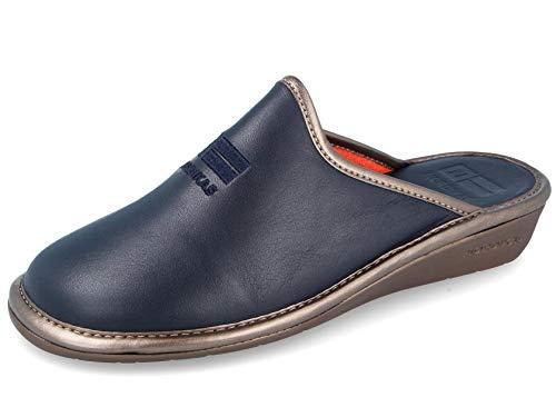 Zapatillas Señora Piel Azul Marino (42)