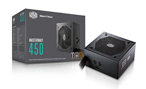 Cooler Master MasterWatt 450 EU Alimentation PC 'Semi-Fanless Modular, 80 Plus Bronze, 450W' MPX-4501-AMAAB-EU