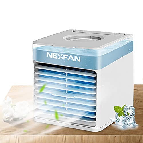 goldmiky 5 In 1 Mobile Klimageräte,Mini Air Cooler,Luftbefeuchter, Luftreiniger und Aromazerstäuber, USB Air Cooler mit 3 Kühlstufen, 7 Farben LED, Tragbarer Luftkühler für Heim, Büro