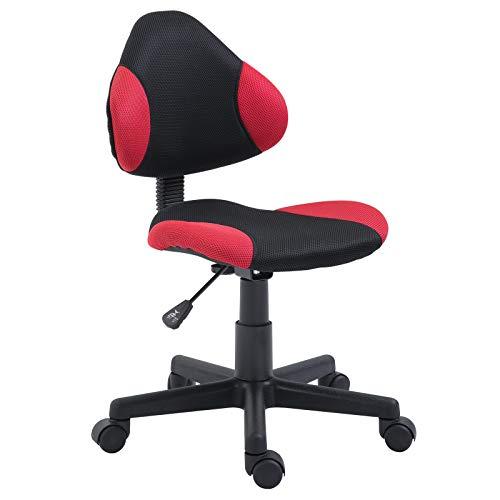 IDIMEX Chaise de Bureau pour Enfant Alondra Fauteuil pivotant avec Hauteur réglable, revêtement en Mesh Noir/Rouge