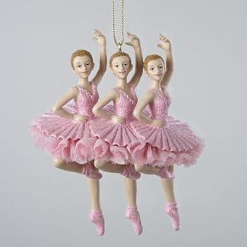 Kurt Adler Resin Pink Trio of Ballerinas Ornament