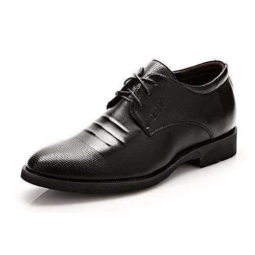 """Men's Elevator Shoes 2"""" Taller Lace up Leather Loafer Removable Height Increasing Insole (Color : Black, Size : 10 MUS)"""