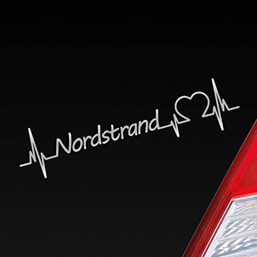 Hellweg Druckerei Auto Aufkleber Nordstrand Nordsee Herz Puls See Sea Norden North Sticker Liebe Love Silber