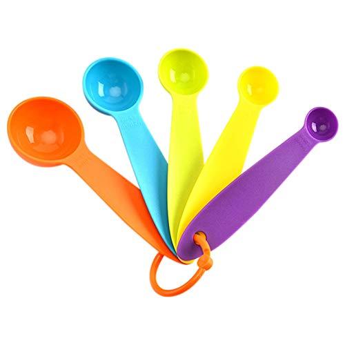 Facynde Juego De Cuchara De Medición, Brillante Colorido Juego De Cuchara De Medición De 5, Utensilios De Cocina Gadgets Cucharaditas Cucharadas