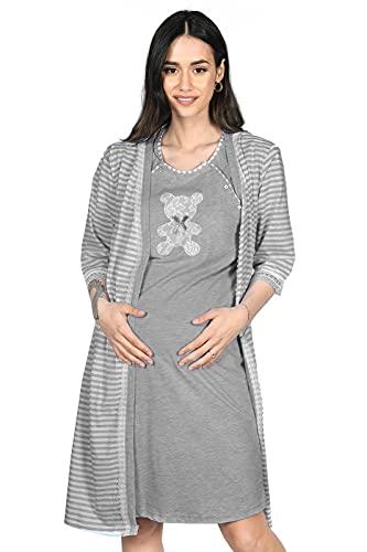 MijaCulture 2 en 1 - Conjunto de camisón y bata de maternidad 2075 gris grafito S