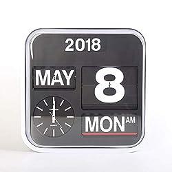 homeloo Fartech Retro Modern 17 Inches Calendar Auto Flip Desk Wall Clock (White)