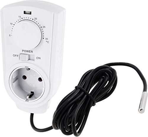 Presa intermedia analogica con termostato 230 V – con sensore esterno – manopola – termostato da 3500 W – per climatizzazione + riscaldamento