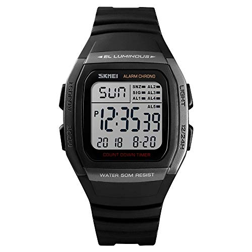 Somviersb Herenhorloge Stopwatch Multi-functie Timing Met Night Light Functie horloge Fashion Outdoor waterdichte digitale horloge Student sporthorloge Ondersteuning 5 Group wekker