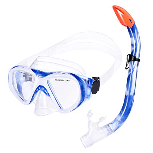 KUSTAR Snorkel Set Kids, Semi-Dry Snorkeling Set Anti-Fog Children Snorkel Mask, Impact Resistant Panoramic Tempered Glass Easy Breathing for Youth Junior Girls,Boys