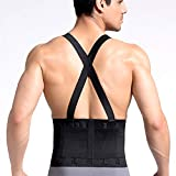 CROSS1946 Work Back Brace,Lumbar Support with Adjustable Suspenders for Industrial Work, Weightlifting,Back Pain Relife,Heavy Lifting Safety,Men &Women,Black,Small Size