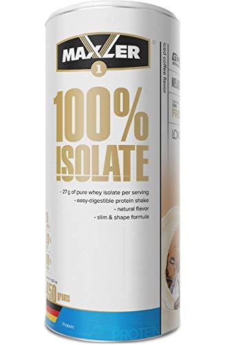 Maxler 100% Isolate Protein Pulver - Natürlich schmeckender Whey Isolate aus Weidehaltung - Whey Protein Isolate Zuckerarm & ehrlich Lecker - Eiskaffee - 450 g