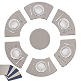 wartleves Faux Leather Heat Resistant Placemats Set of 7 Wedge Shaped Placemat for Round Table Waterproof Wipeable Table Mats for Dining Table with Centerpiece Washable Double Sided Color