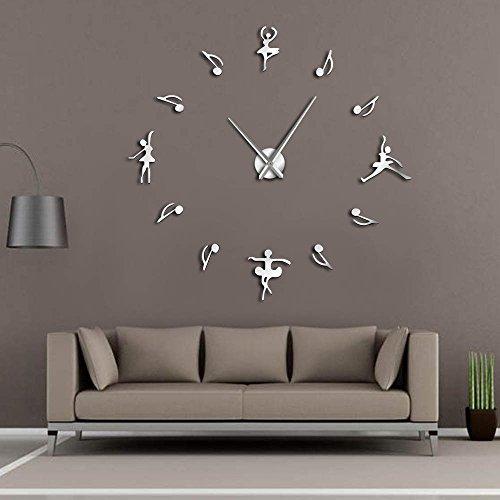 GZGJ Ballerine Wall Decor Fai da Te Grande Orologio da Parete Ballerini Ballerini Note Musicali Orologio da Parete Gigante Design Moderno Danza Classica per Gli Amanti della Musica