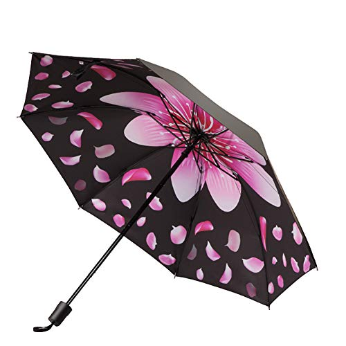 DaoRier Regenschirm Mode Leicht Kompakt Taschenschirm Mädchen Blumenmuster Regenschirm mit 8 Rippen (Schwarz)