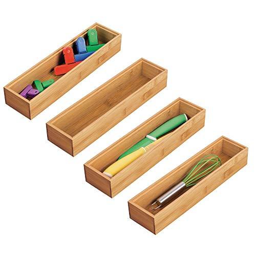 mDesign Juego de 4 cajas organizadoras para la cocina – Caja rectangular de bambú para ordenar cajones – Organizador de madera apilable para guardar cubiertos y utensilios de cocina – color natural
