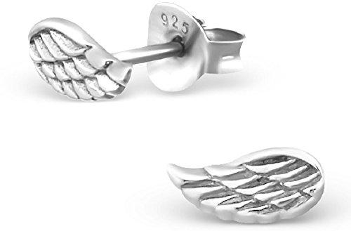 Unbespielt Orecchini piace vuote gioielli in argento 925 piccole ali angelo orecchini per le donne o bambini di argento 7 x 4 mm. compresi contenitori di monili