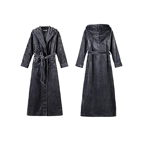 Mimitool Pareja de albornoz de invierno, mantenga cálido espeso de coral Fleece mujeres más talla de mano, con bolsillos cinturón con capucha, mujeres, l (Color : Women, Size : 3XL)