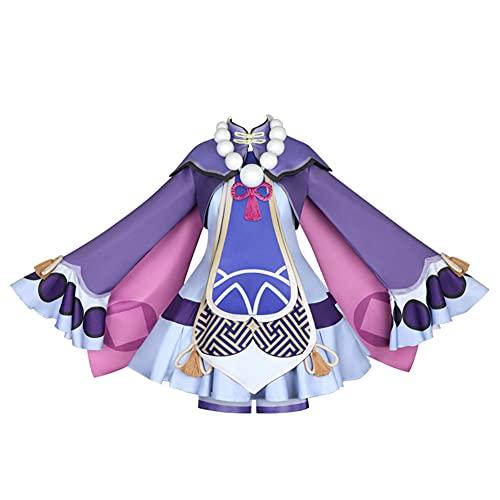 SETHOUS Venti Cosplay Outfit Genshin Impact Venti Costume Felpa Mantello Capo Pantaloncini Tuta Completo Cappello Completo, Qiqi., M