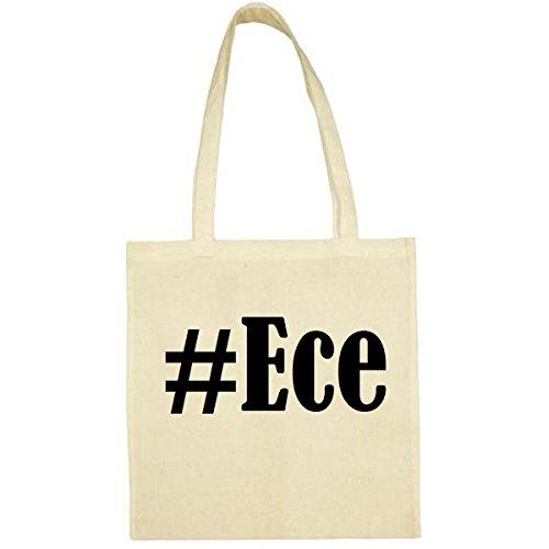 Tasche #Ece Größe 38x42 Farbe Natur Druck Schwarz