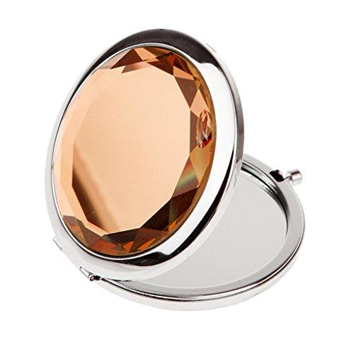 Fenteer Mini Miroir Cosmétique de Poche avec Grand Strass à Double Face Normale et Grossissante pour Maquillage - Cadeau Femmes - Kaki
