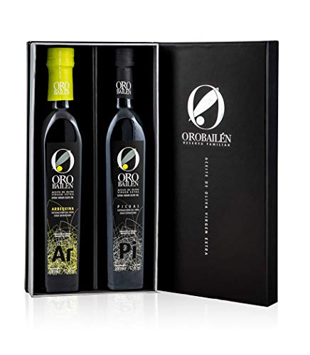 Aceite de oliva virgen extra - Oro bailen Reserva Familiar - Estuche regalo gourmet aceite virgen extra de jaen variedades de aceituna Arbequina + Picual