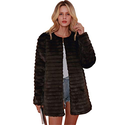For Sale! Leepus Women Coat Fluffy Faux Fur Solid Color Stripes Long Sleeve Warm Autumn Winter Hairy...