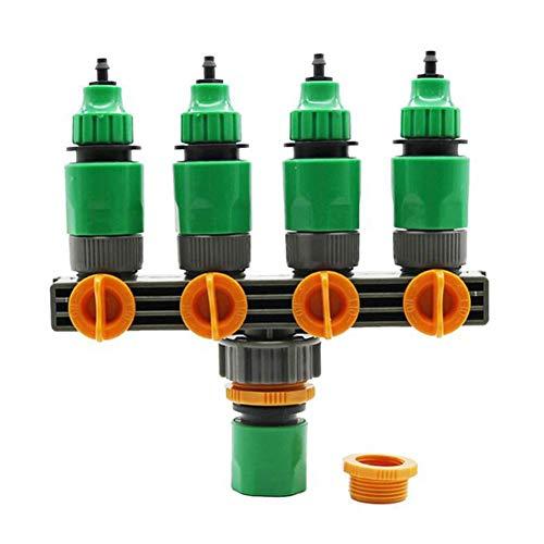 Ausomely Distribuidor de Agua de 4 vías, Flujo de Agua Regulable y bloqueable, Distribuidor de Grifo óptimo para Uso práctico en el jardín, Incluye 4 grifos
