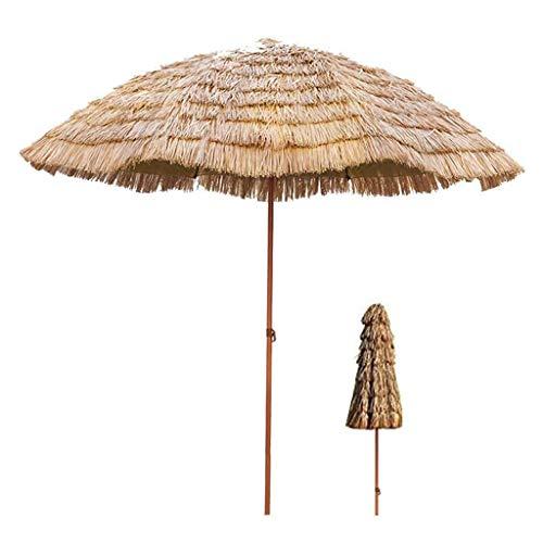 ZZZR Rundschirm Sonnenschirm Sonnenschirm, Hawaiian Beach Sonnenschirm mit 45 ° Neigungsfunktion, für Coffee Shop Kleine Bistro-Terrasse, Basis Nicht inbegriffen, 7,8 Fuß / 9,8 Fuß