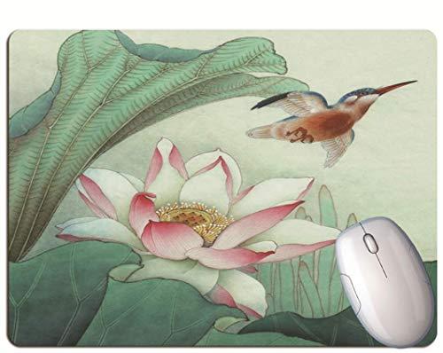 Alfombrilla De Ratón Para Juegos, Exquisitas Flores De Loto Y Pájaros Voladores,...