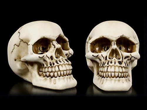 Figuren Shop GmbH Menschliche Gothic-Totenköpfe - 2er Set | Skull, Schädel, handbemalt, H 7 cm