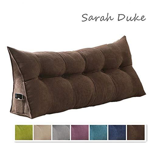 Sarah Duke Dreieckige Keil Kissen, bettsitzkissen Kissen Rückenkisse Polstermöbel, Bett-Rückenstütze Keilform, für Sofa Bett Couch Wohn und Schlafzimmer (Braun,60 X 20 X 50cm)