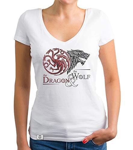 shirtdepartment - Game of Thrones - Damen T-Shirt V-Ausschnitt - Dragon and Wolf Wappen Weiss-dunkelrot M