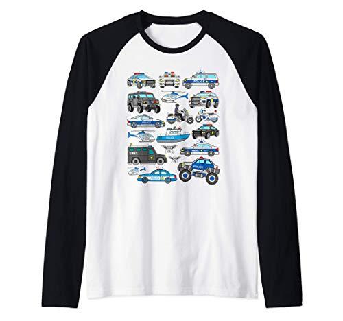 Coches Policía Vehículos Patrulla Policia Americano Camiseta Manga Raglan