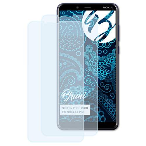 Bruni Schutzfolie kompatibel mit Nokia 3.1 Plus Folie, glasklare Bildschirmschutzfolie (2X)