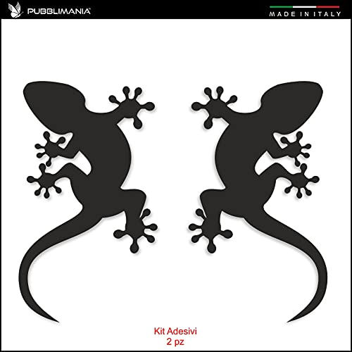 Kit de 2 pegatinas geco lagartija para coche, moto, todoterreno, caravana, scooter, vinilo tallado apto para muebles, espejos y superficies lisas… (negro, 7 x 12 cm)