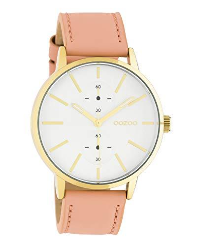 Oozoo Unisex Armbanduhr Chrono Look mit Lederband 42 MM Goldfarben/Puderrosa C10588