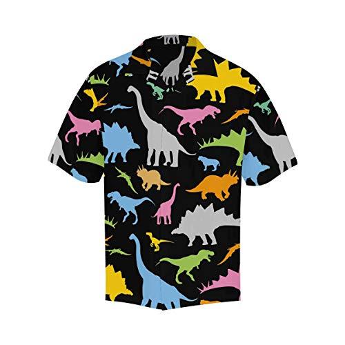 InterestPrint Mens Shirt Dinosaur Patter Short Sleeve Shirts Regular Fit Casual Button Up Shirts for Men XL