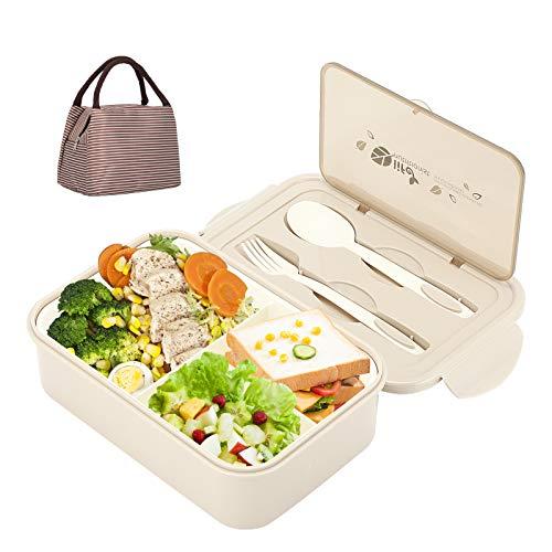 Aitsite Bento Box, Lunch Boxen Kinder, Brotdose Kinder, Lunchbox mit 3 Fächern und Besteck, Auslaufsichere Brotzeitbox Vesperdose für Mikrowellen und Spülmaschinen (Beige)